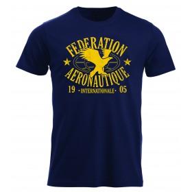 FAI T-shirt homme bleu marine impression jaune