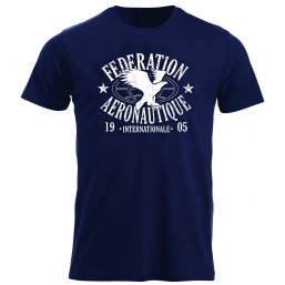 FAI T-shirt homme bleu marine, impression blanc